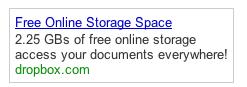 Объявление Dropbox в Google Adwords