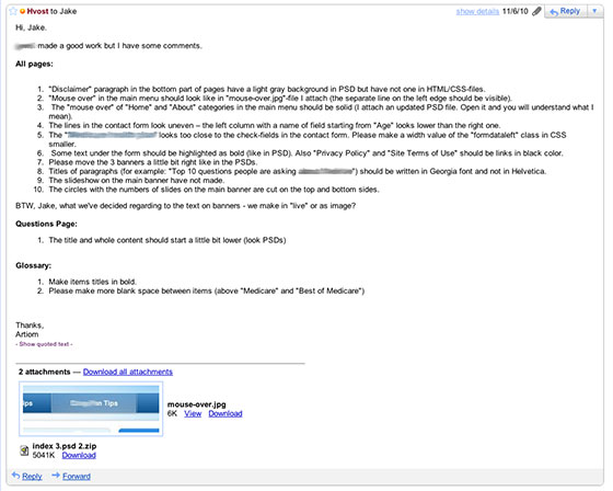 Письмо индийскому программисту со списком исправлений